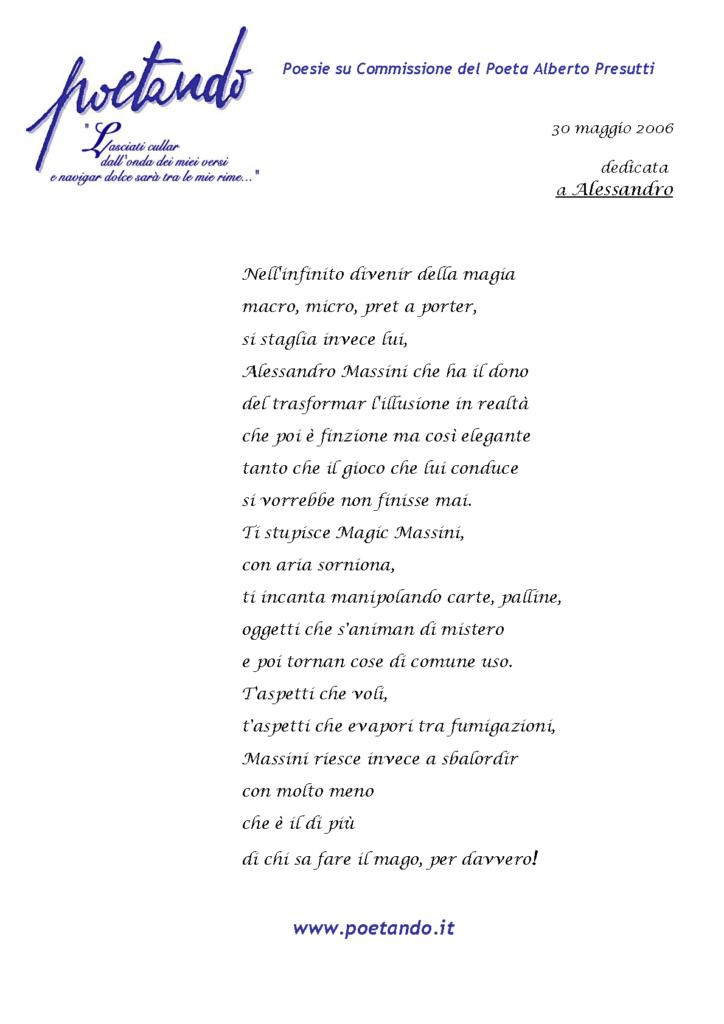 il Poeta Alberto Presutti ha dedicato al Mago Massini una poesia